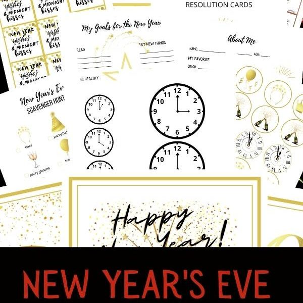 New Year's Eve Printables: countdown clocks, new years eve scavenger hunt, new year's eve selfie scavenger hunt, midnight kisses labels and so on. Over 50 pages of New Years Eve fun!