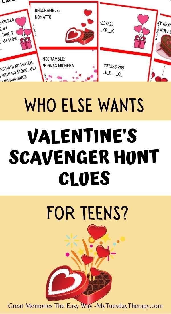 Valentine's Scavenger Hunt Clues for Teens and Older Kids.