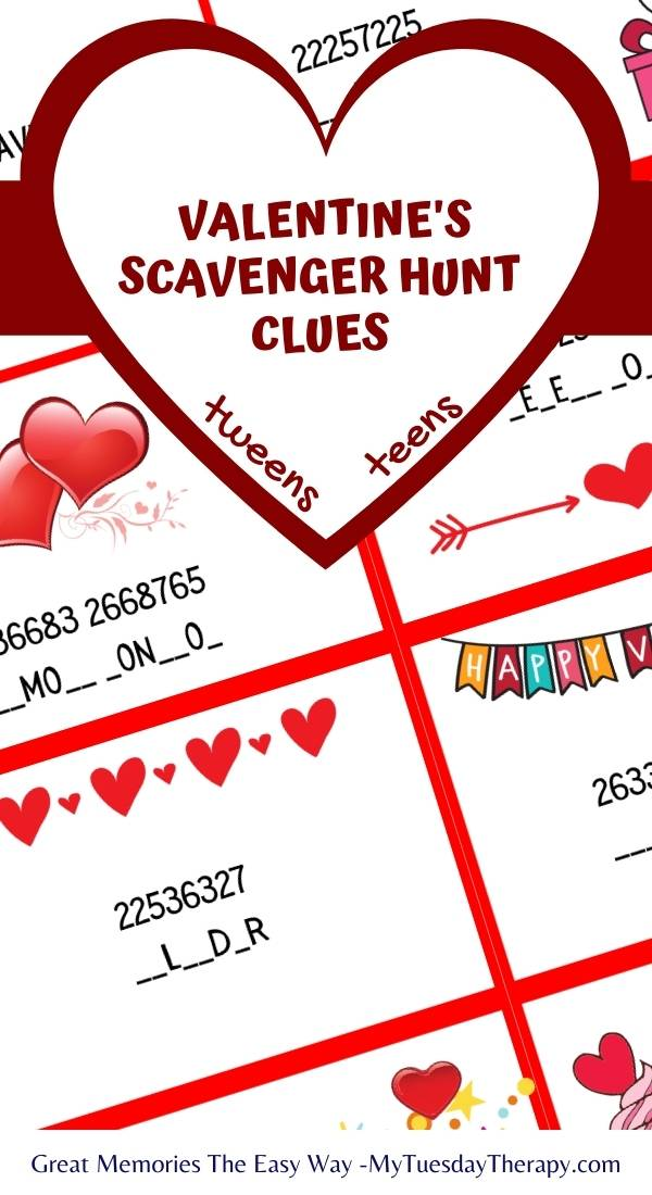 Valentines Day Scavenger Hunt Clues or Codes