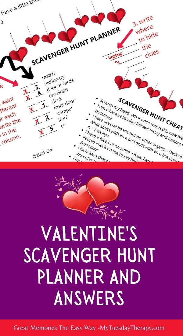 Valentine's day scavenger hunt planner and answer key.
