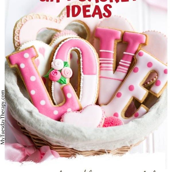 Valentine's Gift Basket Ideas for Teenage Daughter. Valentine's cookies in a bowl. Cookies shaped like letters spelling love.