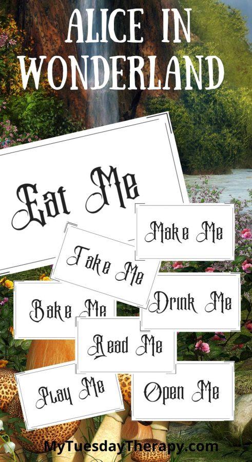 Alice In Wonderland label template (eat me, drink me, bake me, take me, make me, open me, read me, play me). Alice in Wonderland printables.
