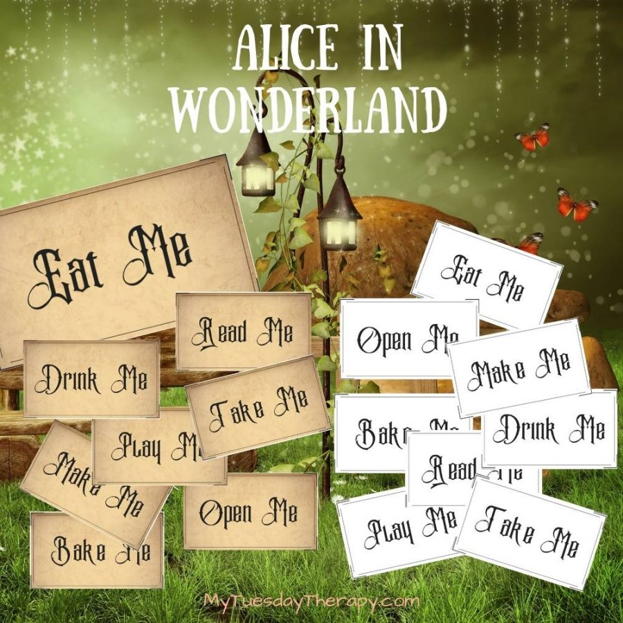 Fun Alice In Wonderland Printables, labels in two colors white and rustic: eat me, drink me, take me, bake me, make me, play me, read me, open me.
