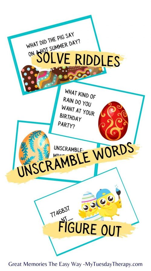 Easter fun for teens! Solve riddles, unscramble words and figure out codes that lead to a treasure perhaps an Easter basket.