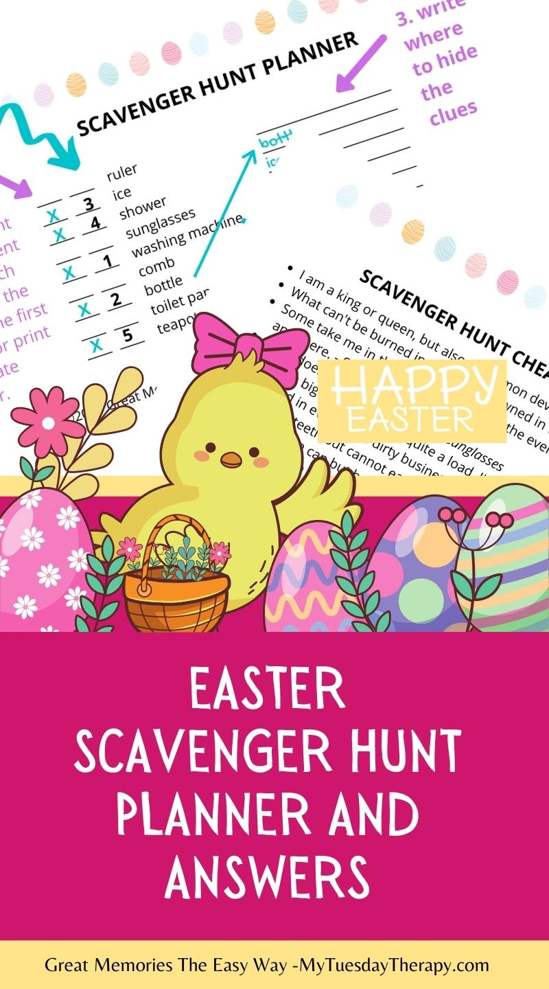 Easter scavenger hunt planner with answers to the riddles.