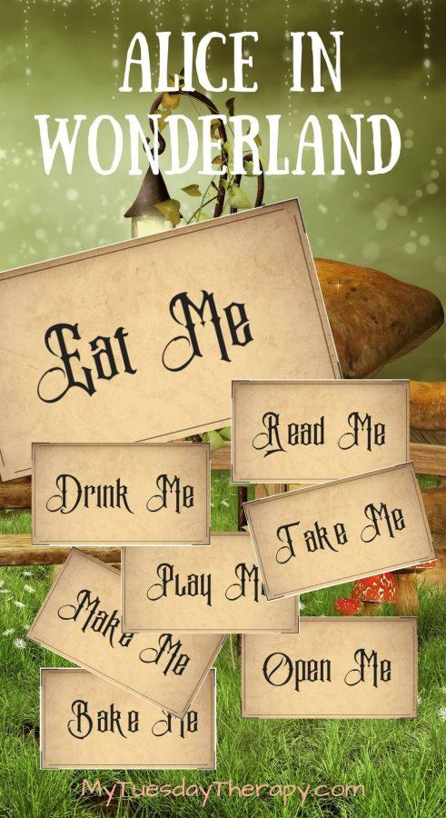 Rustic Alice In Wonderland labels (eat me, drink me, bake me, take me, make me, open me, read me, play me). Alice in Wonderland printables.
