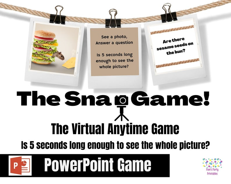 Virtual party game for teens: the snap (pamspartyprintables)
