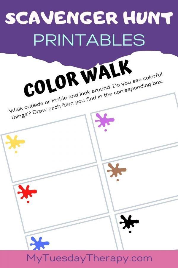 Color walk scavenger hunt for preschoolers.