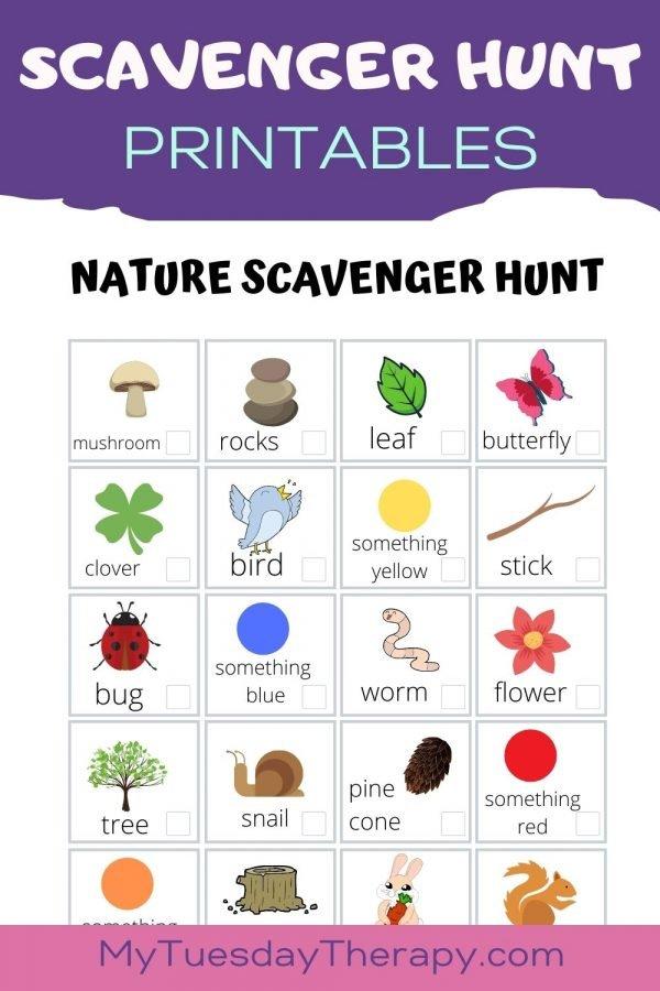 Nature scavenger hunt printable free.