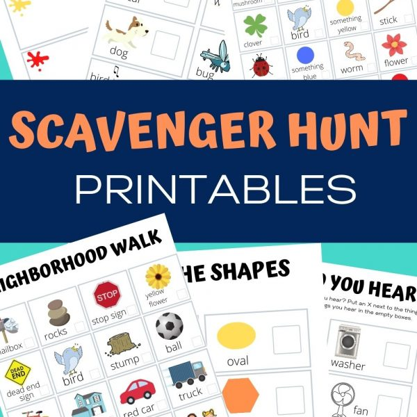 Scavenger Hunt printables: color walk, what do you hear, nature, neighborhood walk, find the shape, what do you hear in the house.