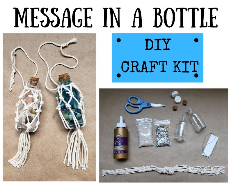 DIY message in a bottle craft kit. (twine and spirit)