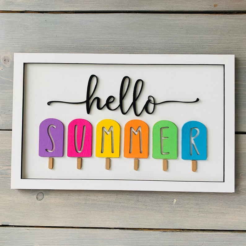 Hello Summer Sign paint it yourself summer craft for teens. (bright light craft co)